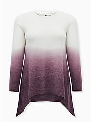 Super Soft Plush Burgundy Purple Dip-Dye Lattice Back Tunic Tee, WINETASTING, hi-res