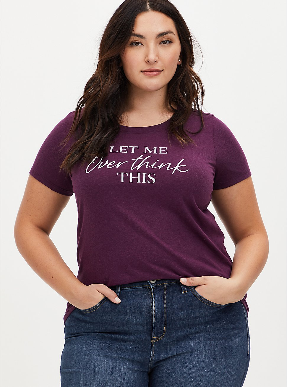 Plus Size Overthink Slim Fit Crew Tee - Grape Purple, , hi-res