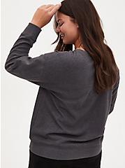 Tiger Charcoal Grey Fleece Sweatshirt, CHARCOAL  GREY, alternate