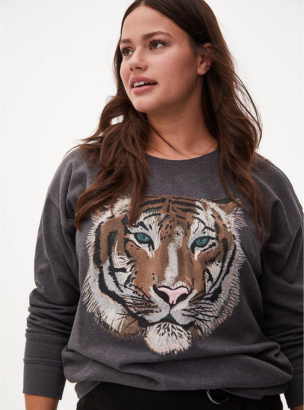 Tiger Charcoal Grey Fleece Sweatshirt, CHARCOAL  GREY, hi-res