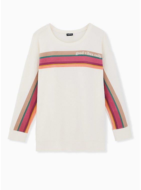 Good Vibes Only White & Multi Stripe Fleece Crew Sweatshirt , BRIGHT WHITE, ls