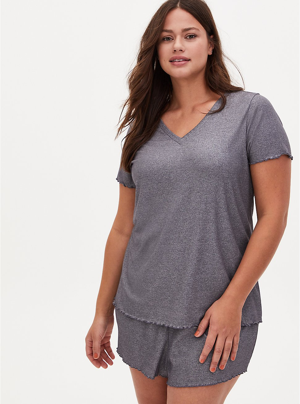 Grey Metallic Lettuce Edge Rib Sleep Tee, GREY, hi-res