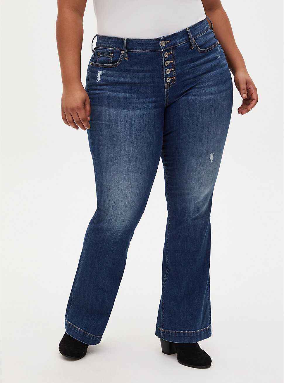 Mid Rise Flare Jean - Vintage Stretch Medium Wash, ROCKSTAR, hi-res