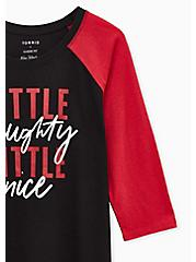 Little Naughty Classic Fit Raglan Tee - Triblend Black & Red , DEEP BLACK, alternate