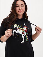 Sequin Santa Unicorn Black Fleece Tunic Hoodie, DEEP BLACK, hi-res