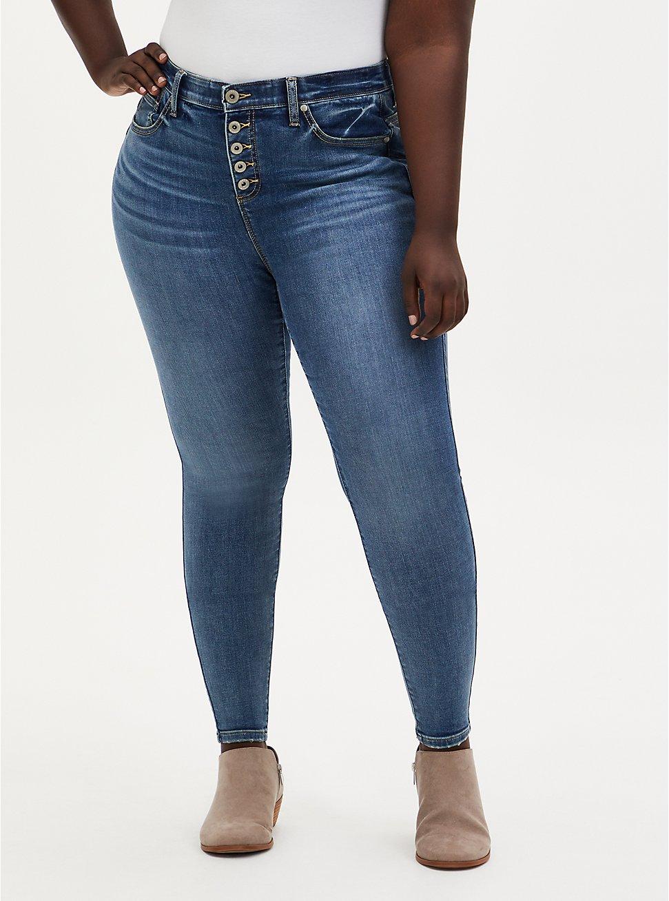 Plus Size Bombshell Skinny Jean - Super Soft Eco Medium Wash, , fitModel1-hires