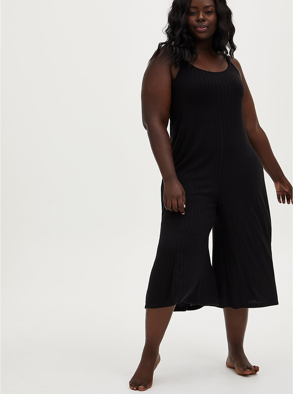 Super Soft Rib Black Culotte Sleep Jumpsuit, DEEP BLACK, hi-res
