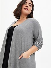Grey Super Soft Ribbed Sleep Duster Robe, GREY, alternate