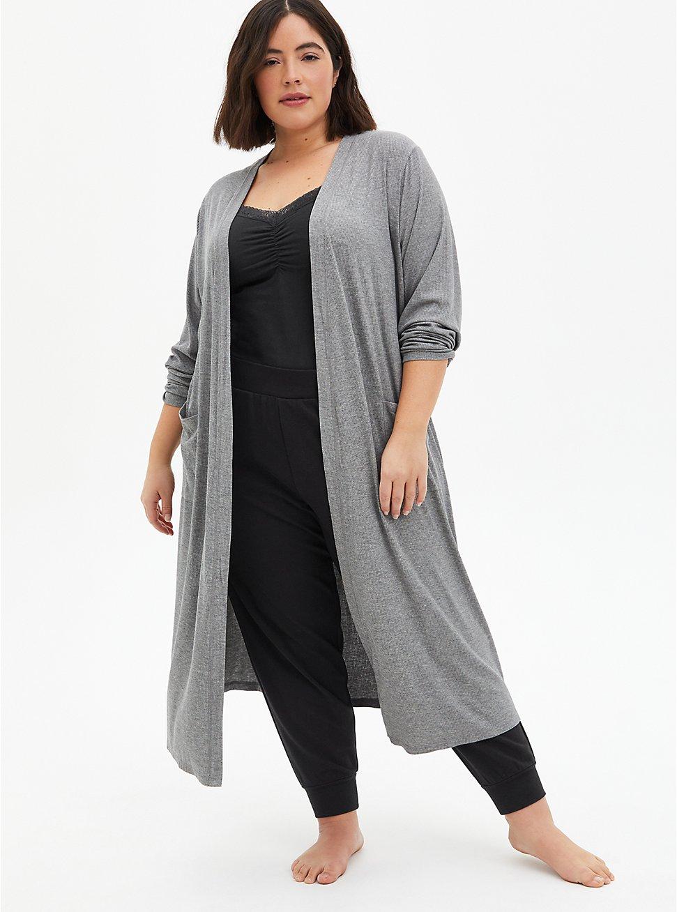 Grey Super Soft Ribbed Sleep Duster Robe, GREY, hi-res