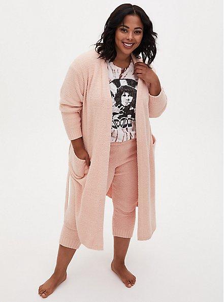 Pink Teddy Longline Sleep Robe, PINK, hi-res
