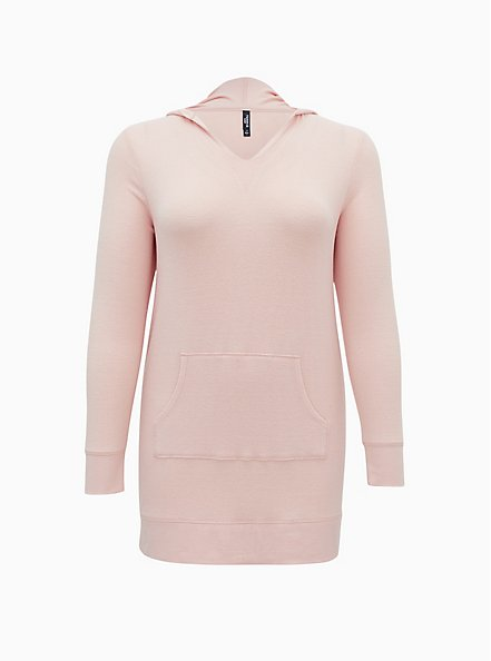 Super Soft Plush Pink Hooded Sleep Tunic, PINK, hi-res
