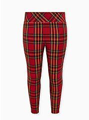 Betsey Johnson Red Tartan Pixie Pant, PLAID - RED, hi-res