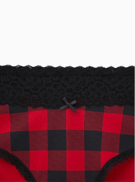 Buffalo Plaid Red & Black Cheeky Panty, SPLAIT PLAID, alternate