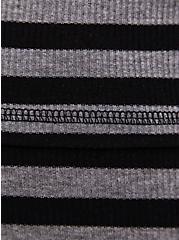 Super Soft Black & Grey Stripe Ribbed Lounge Tee, MULTI, alternate