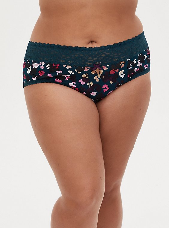 Multi Leopard Wide Lace Cotton Cheeky Panty, POPPING LEOPARD, hi-res