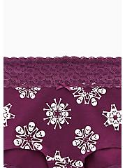 Purple Skull Snowflake Wide Lace Cotton Boyshort Panty, SKULL SNOWFLAKES, alternate