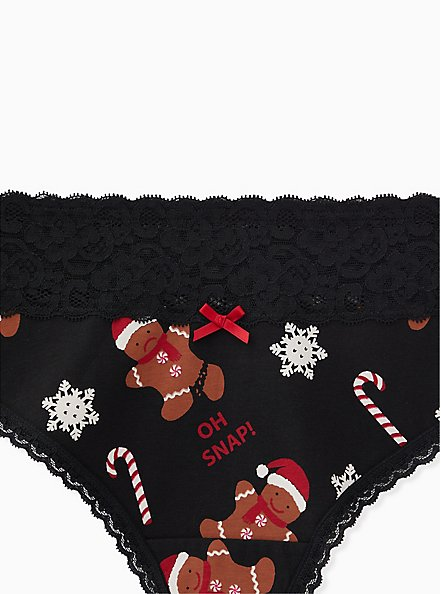 Oh Snap Gingerbread Man Black Wide Lace Cotton Thong Panty, HOLIDAY KITCH, alternate