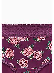 Purple Floral Wide Lace Cotton Brief Panty, EPIC ROSE FLORAL, alternate