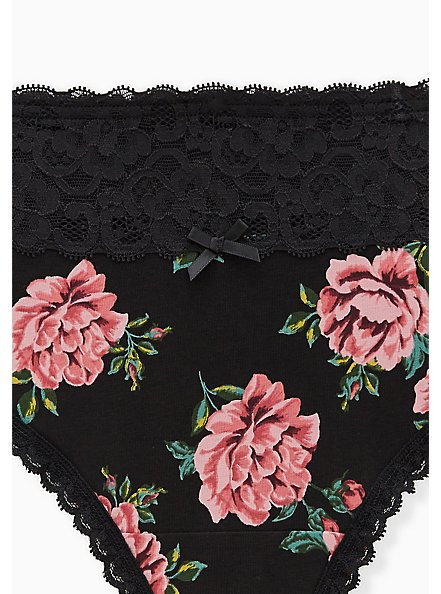 Black Roses Wide Lace Cotton Thong Panty, EPIC ROSE FLORAL, alternate