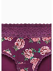 Purple Floral Wide Lace Cotton Cheeky Panty, EPIC ROSE FLORAL, alternate