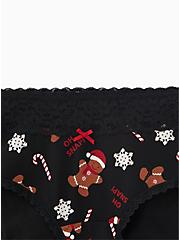 Oh Snap Gingerbread Man Black Wide Lace Cotton Cheeky Panty, HOLIDAY KITCH, alternate