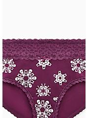 Purple Skull Snowflake Wide Lace Cotton Cheeky Panty, SKULL SNOWFLAKES, alternate