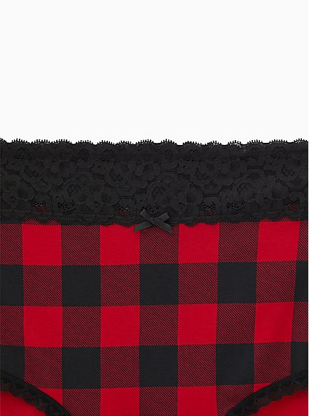 Plus Size Buffalo Plaid Red & Black Wide Lace Cotton Brief Panty, BUFFALO CHECK, alternate