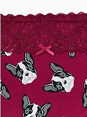 Plus Size Berry Pink Frenchies Wide Lace Cotton Boyshort Panty, OVERSIZED FRENCHIES, alternate