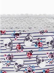 Plus Size Slate Grey Stripe & Skull Floral Wide Lace Cotton Cheeky Panty , SKULLS ON STRIPES, alternate
