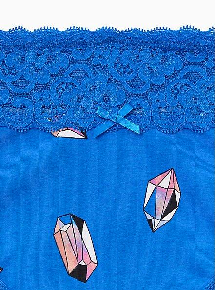 Plus Size Blue Watercolor Gems Wide Lace Cotton Cheeky Panty, WATERCOLOR GEMS, alternate