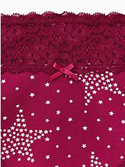 Plus Size Berry Pink Starry Night Wide Lace Cotton Cheeky Panty, STARRY NIGHT, alternate