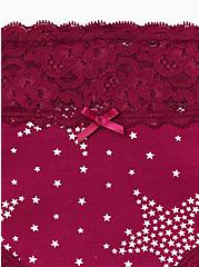 Berry Pink Starry Night Wide Lace Cotton Hipster Panty, STARRY NIGHT, alternate