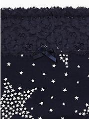 Navy Starry Night Wide Lace Cotton Hipster Panty, STARRY NIGHT, alternate