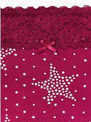 Plus Size Berry Pink Starry Night Wide Lace Cotton Boyshort Panty, STARRY NIGHT, alternate