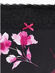 Black Masked Floral Wide Lace Cotton Boyshort Panty, MASKED FLORAL, alternate