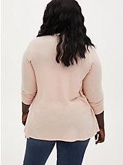 Super Soft Plush Light Pink Drape Front Cardigan, PALE BLUSH, alternate