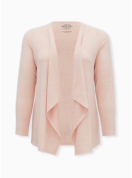 Super Soft Plush Light Pink Drape Front Cardigan, PALE BLUSH, hi-res