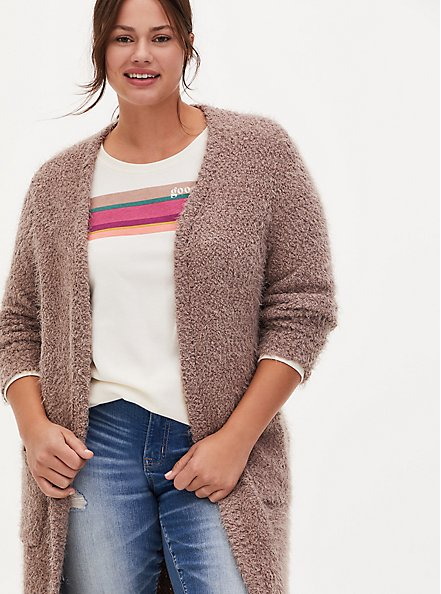 Dark Taupe Popcorn Knit Open Front Longline Cardigan, TOFFEE BROWN, alternate