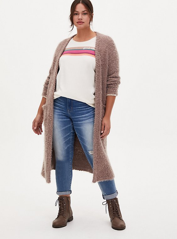 Dark Taupe Popcorn Knit Open Front Longline Cardigan, TOFFEE BROWN, hi-res