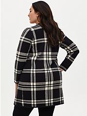 Black Plaid Open Front Longline Cardigan, PLAID - BLACK, alternate