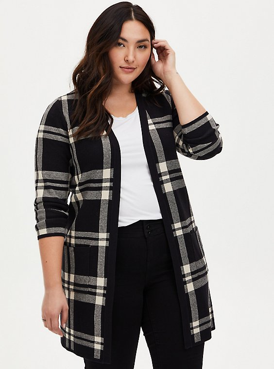 Black Plaid Open Front Longline Cardigan, PLAID - BLACK, hi-res