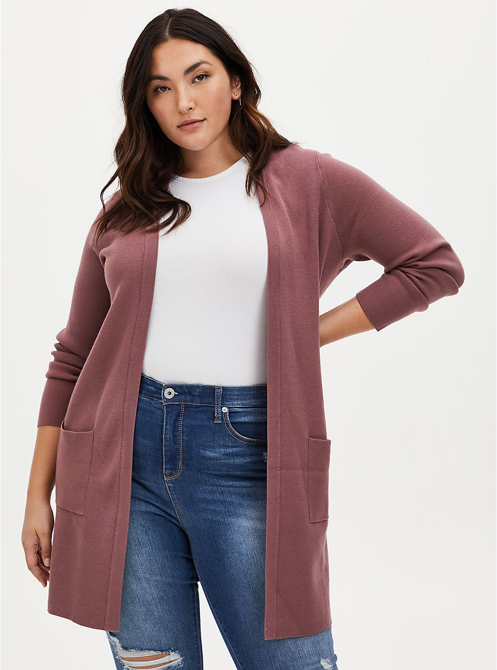 Walnut Open Front Longline Cardigan, ROSE BROWN, hi-res