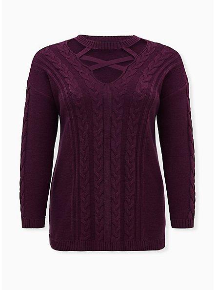 Grape Purple Strappy Cable Knit Pullover Tunic Top, POTENT PURPLE, hi-res