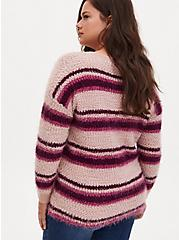 Multi Striped Fuzzy Drop Shoulder Pullover Sweater, MULTI STRIPE, alternate