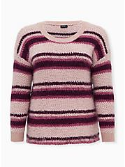 Multi Striped Fuzzy Drop Shoulder Pullover Sweater, MULTI STRIPE, hi-res