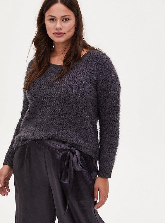 Grey Fuzzy Drop Shoulder Pullover Sweater, NINE IRON, hi-res