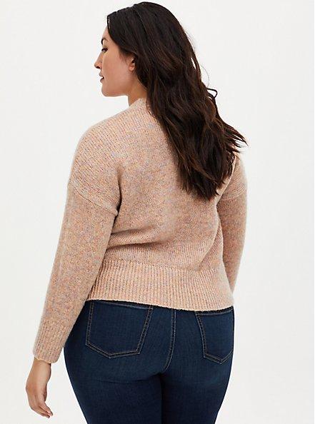 Peach & Confetti Yarn Woolen Crew Neck Crop Sweater, MULTI COLOR, alternate