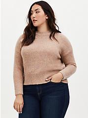 Plus Size Peach & Confetti Yarn Woolen Crew Neck Crop Sweater, MULTI COLOR, hi-res