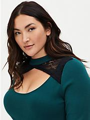 Green Lace Keyhole Pullover Top, GREEN, alternate
