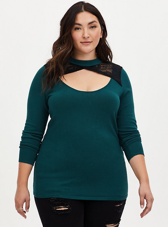 Plus Size Green Lace Keyhole Pullover Top, GREEN, hi-res